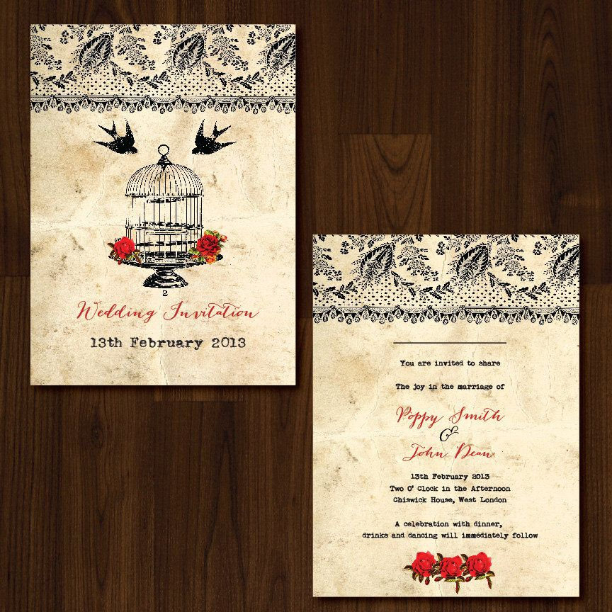 Vintage Lace, Roses and Birdcage Professionally Printed Wedding Invitation. £2.75, via Etsy.