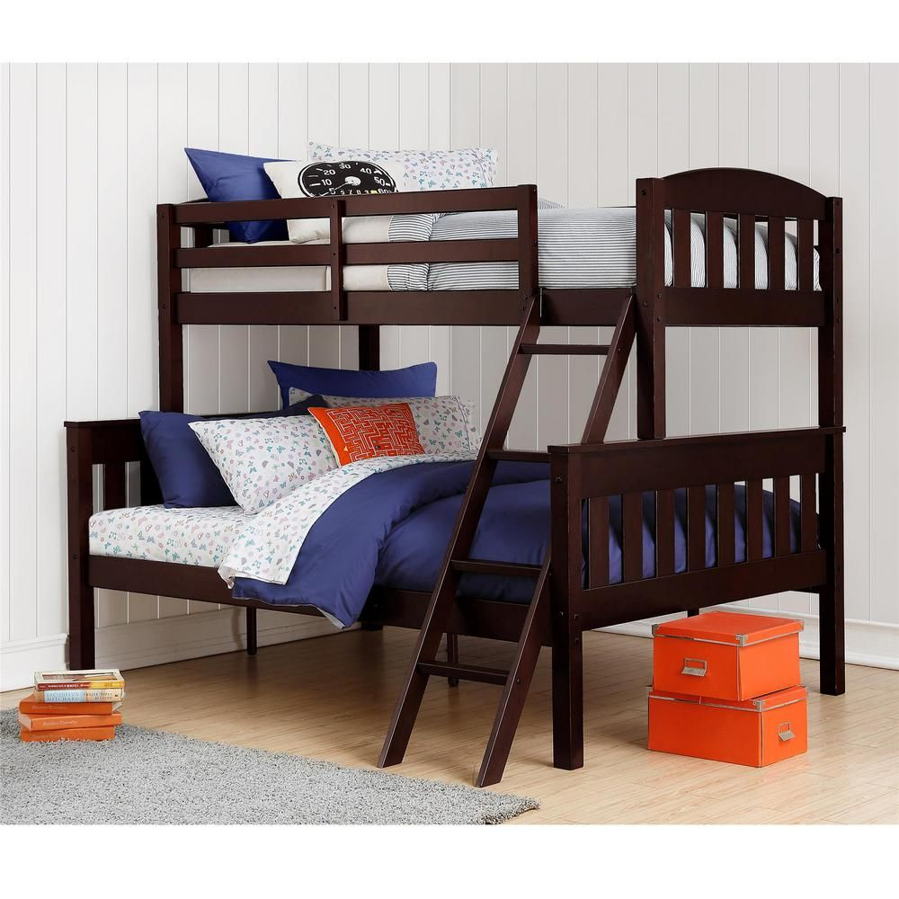 Dorel Living Airlie Twin Over Full Espresso Wood Bunk Bed Fa7499e The Home Depot Cool Bunk Beds Twin Over Full Bunk Bed Full Bunk Beds Solid wood bunk beds twin over full