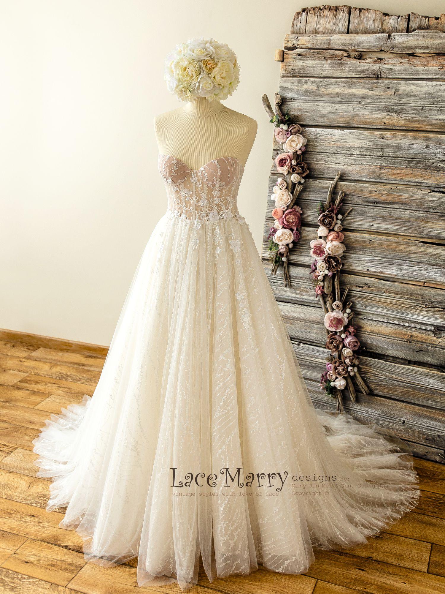 Sparkly Lace Wedding Dress with Strapless Bustier Neckline