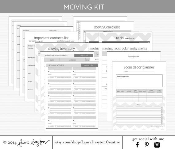 Moving Kit  Moving Checklist Inventory Contacts Room Planner