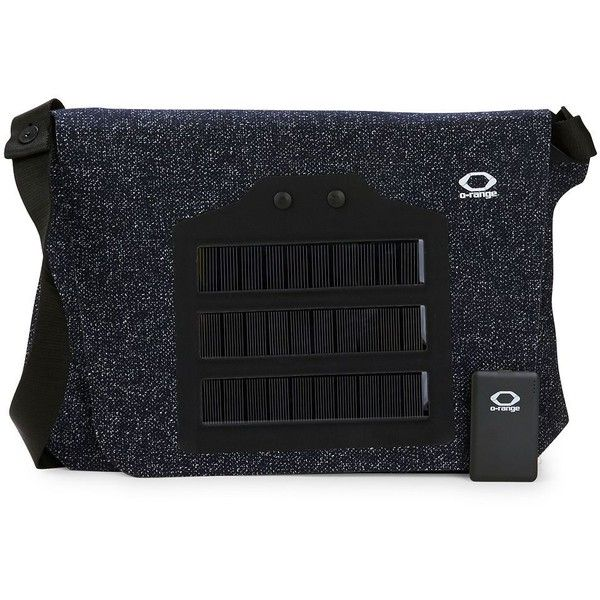 O-Range Solar Powered Messenger Bag ($80) ❤ liked on Polyvore featuring bags, messenger bags, black zip bag, zipper bag, flap bag, black bag and flap messenger bag