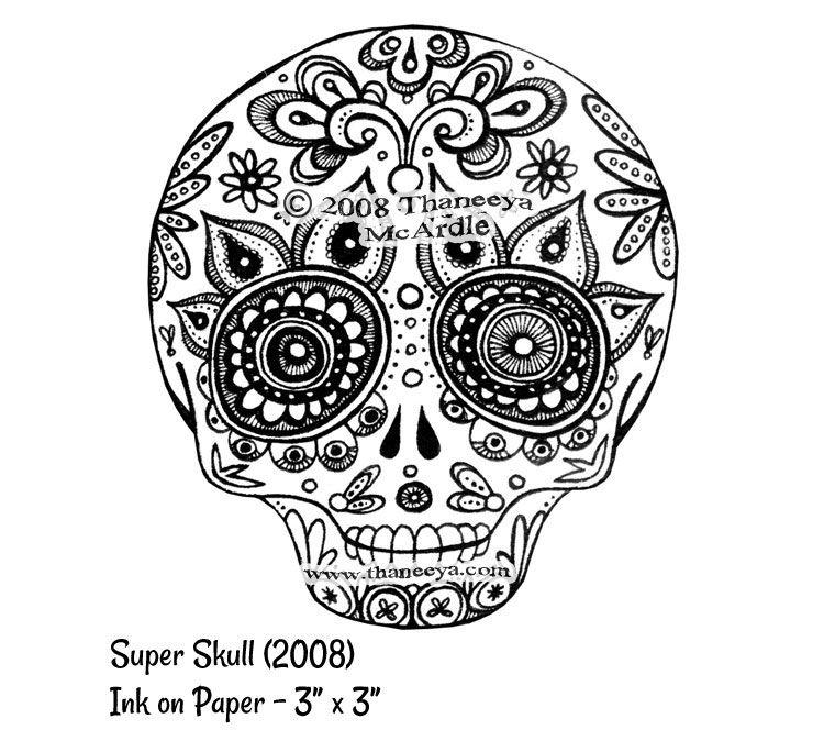 Sugar Skull Outline | Sugar Skull Art: Colorful Day of the ...