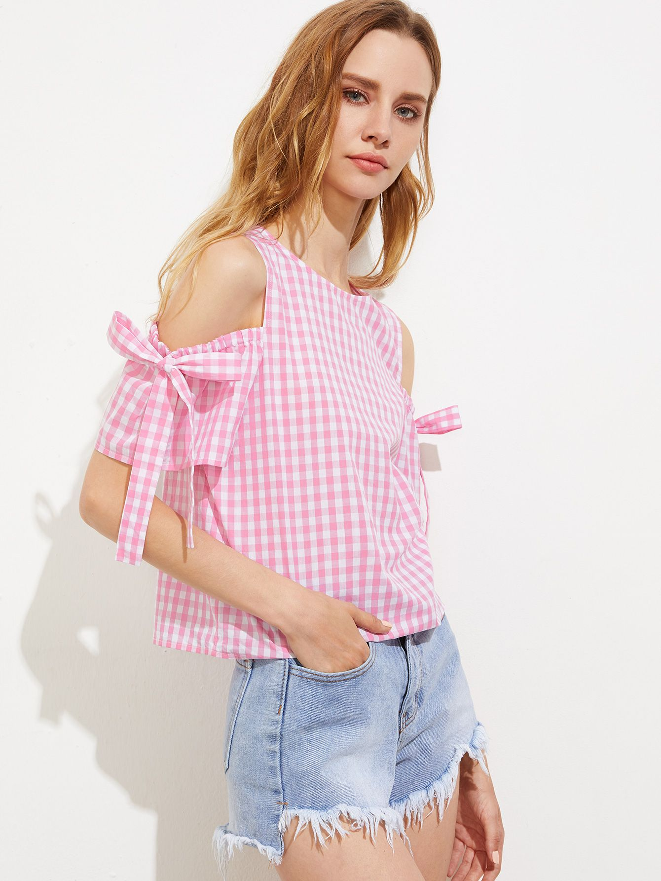 fce85b63241fa Shop Bow Tie Open Shoulder Button Back Checkered Top online. SheIn offers  Bow Tie Open