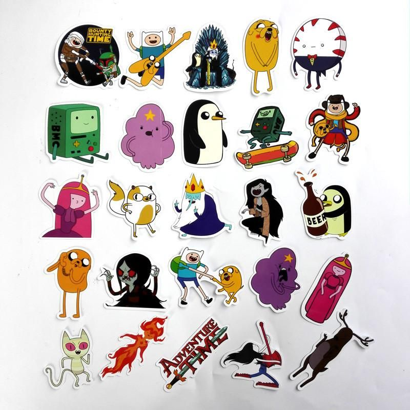 25Pcs/Lot American 2017 Drama Adventure Time Funny Sticker Decal For Car Laptop Bicycle Motorcycle Notebook Waterproof Stickers