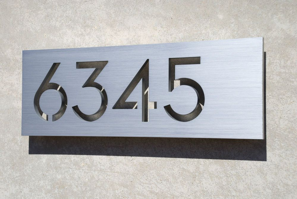 Modern house numbers aluminum plaque modern font modern for Modern house number plaques