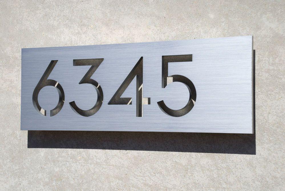 Modern House Numbers Aluminum Plaque Modern Font Modern House