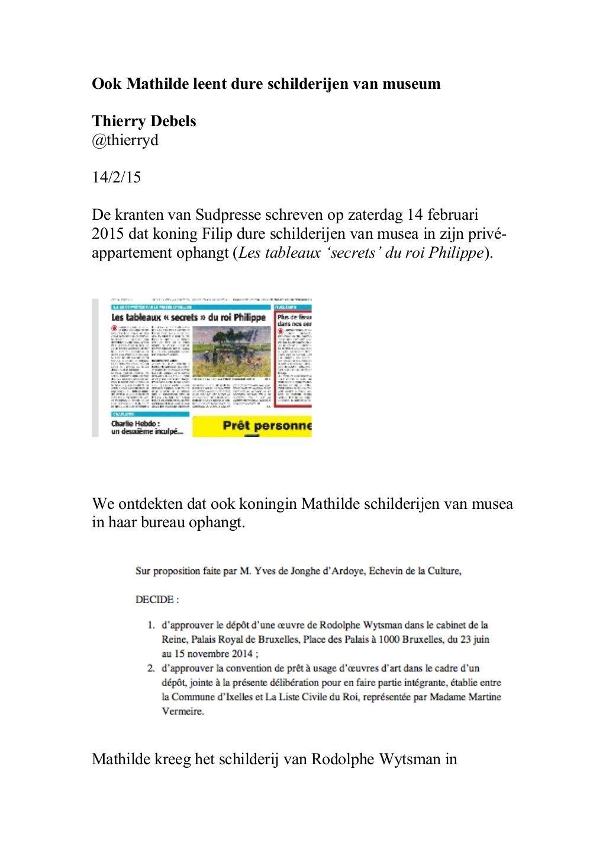 Ook Mathilde leent dure schilderijen van musea by Thierry Debels via slideshare