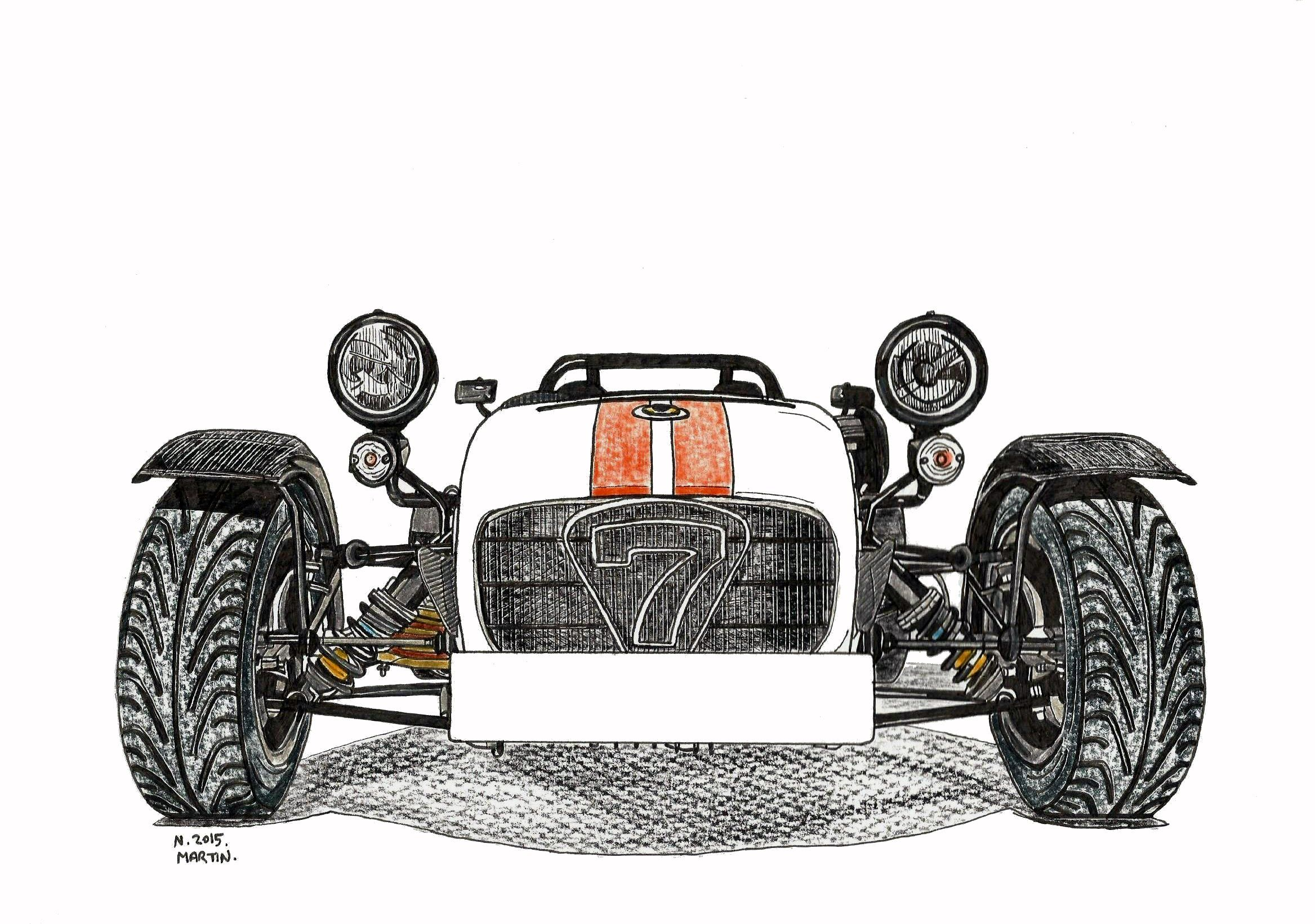 My Caterham Seven Superlight R500 hand-drawn drawing. I can also ...