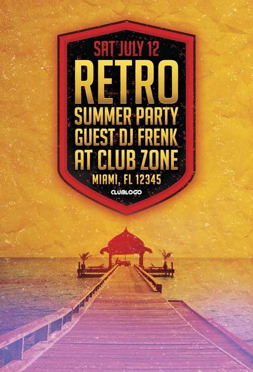 Free Retro Summer Party Flyer Template - http://freepsdflyer.com ...