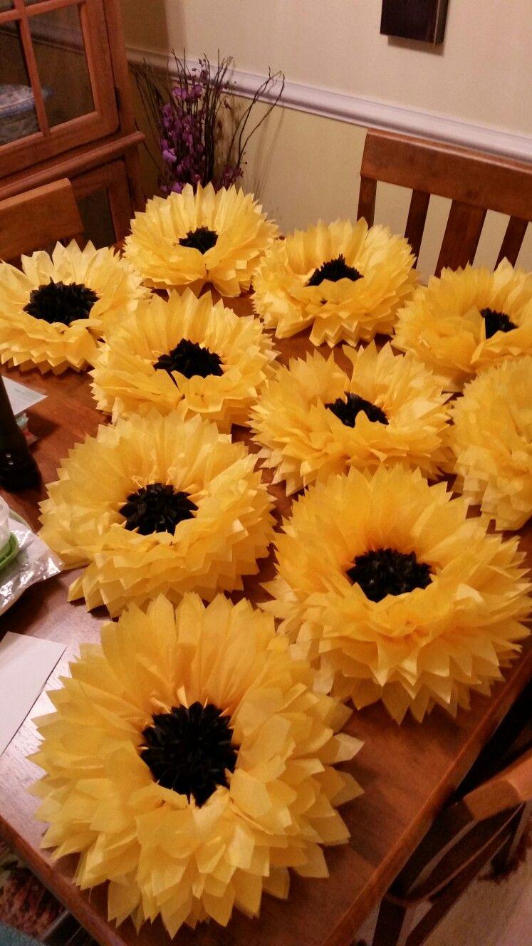 Tissue Paper Sunflowers Bunco Sunflowers Paper Sunflowers