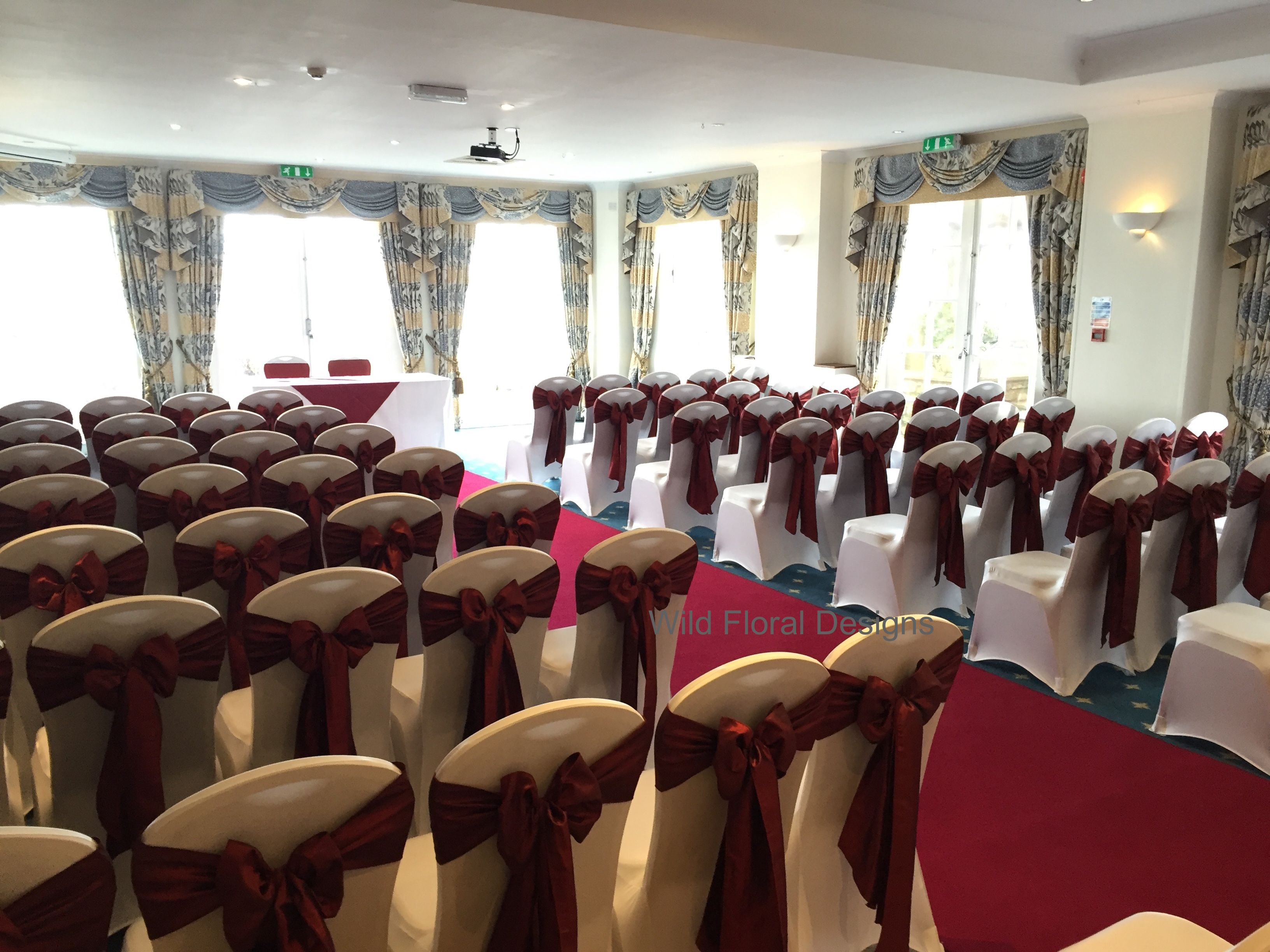 Burgundy Chair Covers Wedding Salon Shampoo Chairs Berry Head Hotel Brixham High Quailty Perfect Fit White With Luxuary Taffeta Sashes