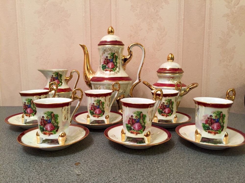 Vintage Imperial Japan Design Ceramic Tea Set 17 Pieces Lightly