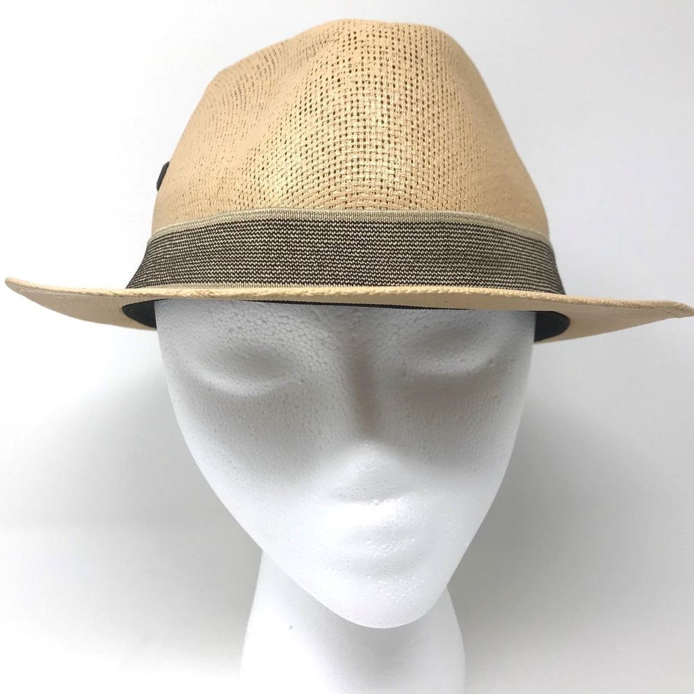 e020115a79c63 Details about Pau Charly Natural Mexico Fedora Hat Mens Size Large ...