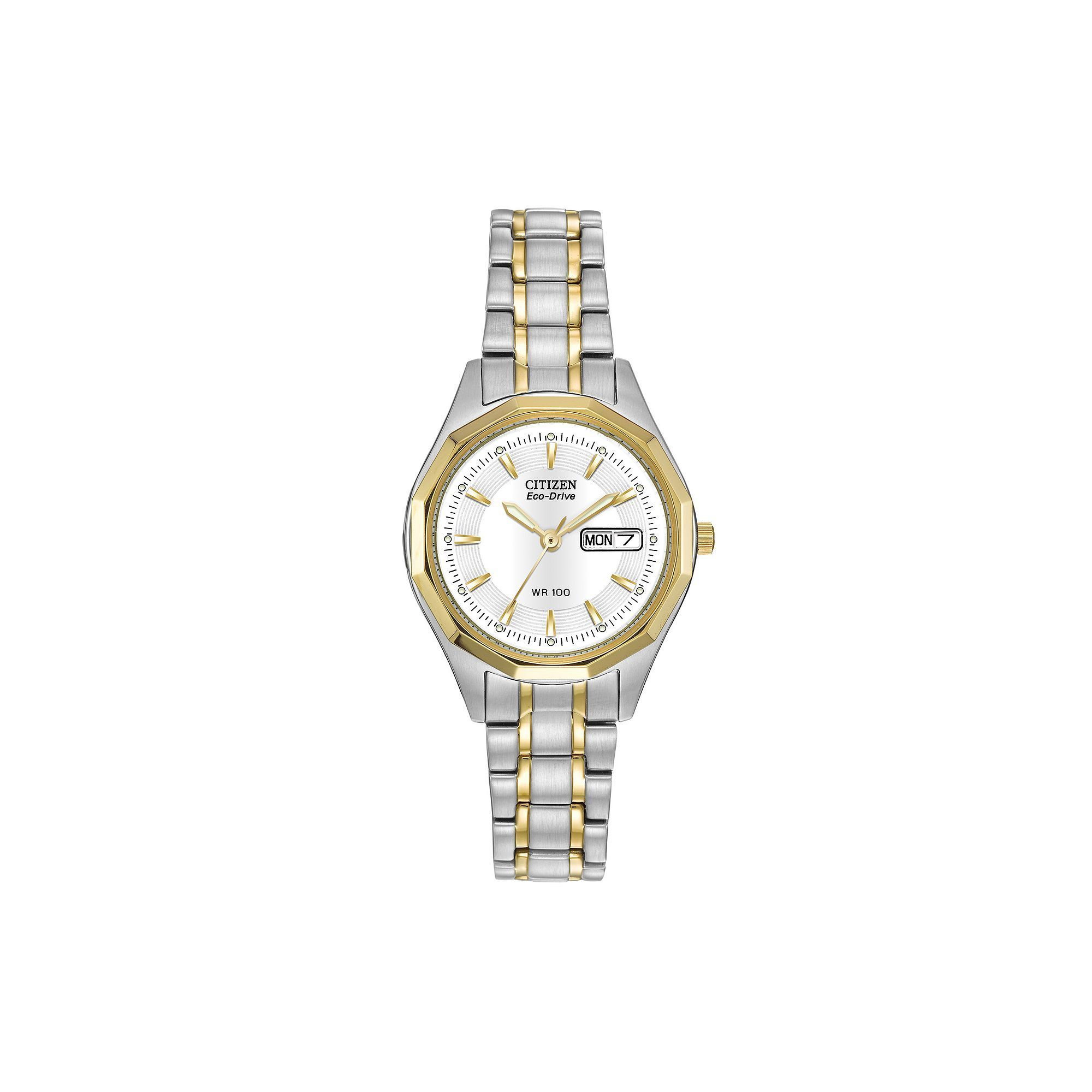 e9b8b16f27bc01 Citizen Eco-Drive Women's Two Tone Stainless Steel Watch - EW3144-51A, Size:  Small, multicolor