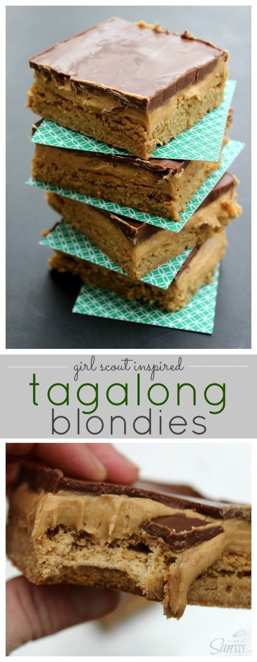 Tagalong Blondies: These Tagalong Blondies are better than the original Tagalong Girl Scout Cookies, gasp! Did I just say that? Heck yes I did and it is true. With a creamy peanut butter layer over a buttery Blondie, then topped off with chocolate it does not get better than this.Tagalong Blondies: These Tagalong Blondies are better than t...