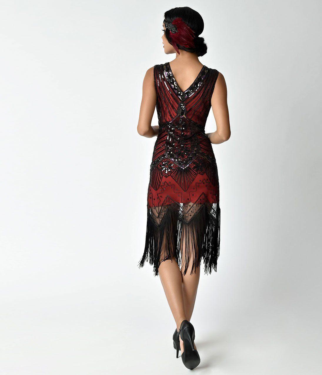 d1a5b149ed0a94 Unique Vintage 1920s Deco Red & Black Veronique Fringe Flapper Dress ...