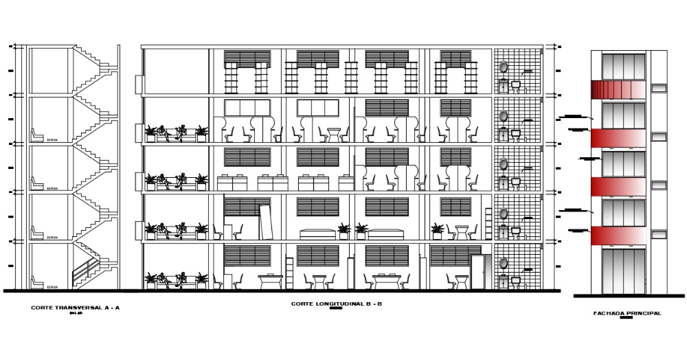 4 Storey Office Building Autocad File In 2020 Office Building Building Elevation Autocad