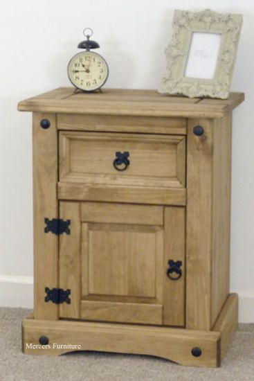 Corona Bedside 1 Door Drawer Pot Cupboard Mexican Pine By Mercers Furniture