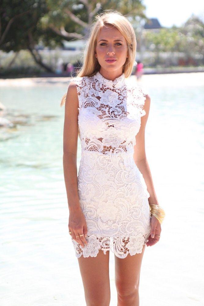 White High Neckline Crochet Lace Mini Dress #ustrendy www.UsTrendy ...