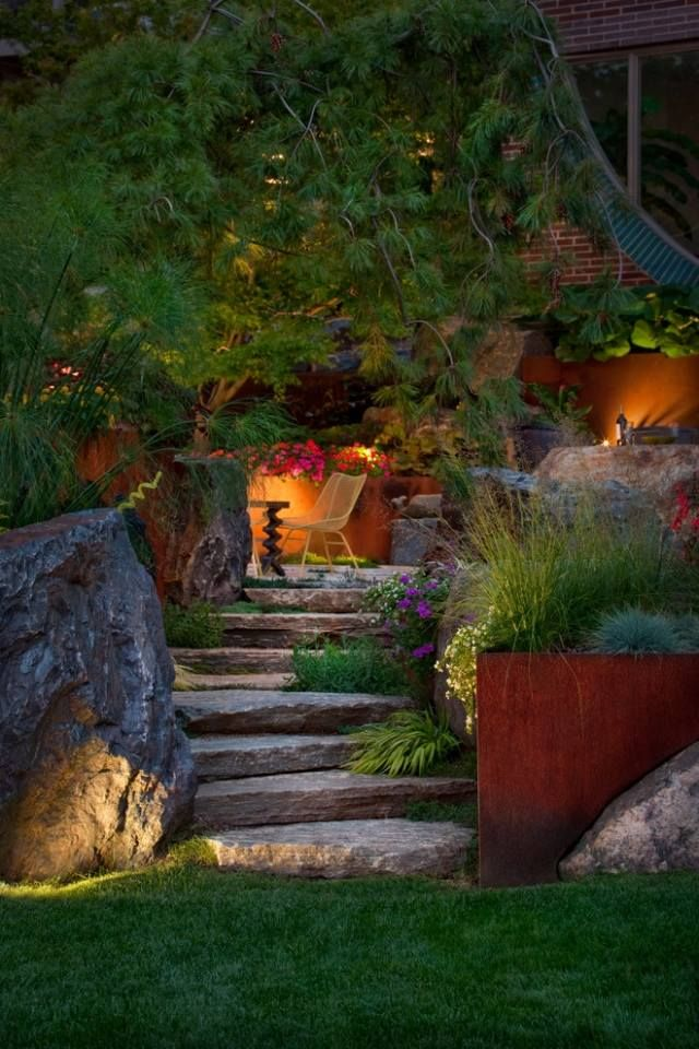 treppenbeleuchtung außen garten sitzbereich effekte Außentreppe - ideen treppenbeleuchtung aussen