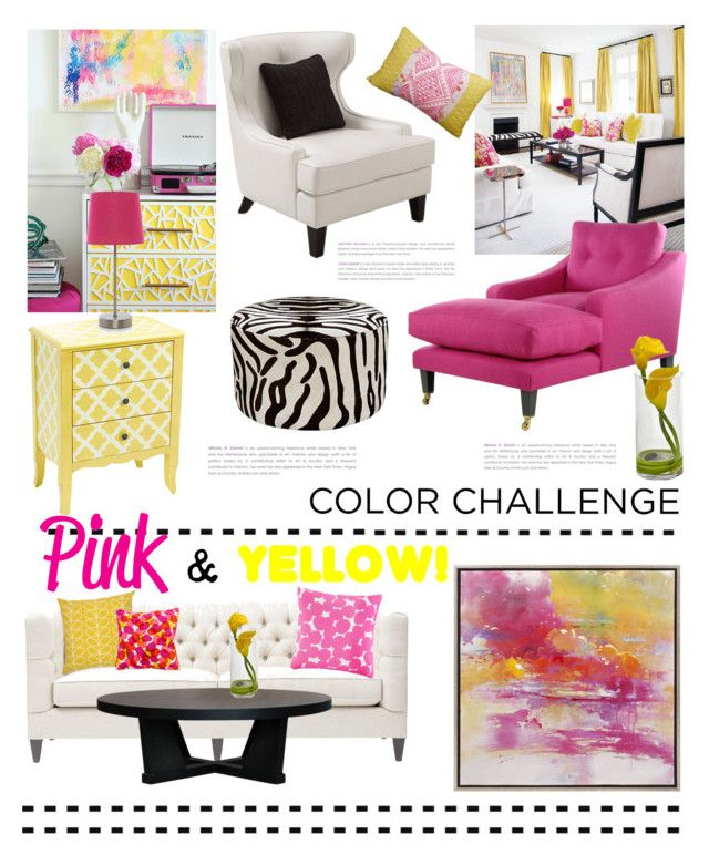 """Color Challenge: Pink & Yellow"" by grapecrush ❤ liked on Polyvore featuring interior, interiors, interior design, hogar, home decor, interior decorating, Bernhardt, XVL, Armen Living y Imax Home"