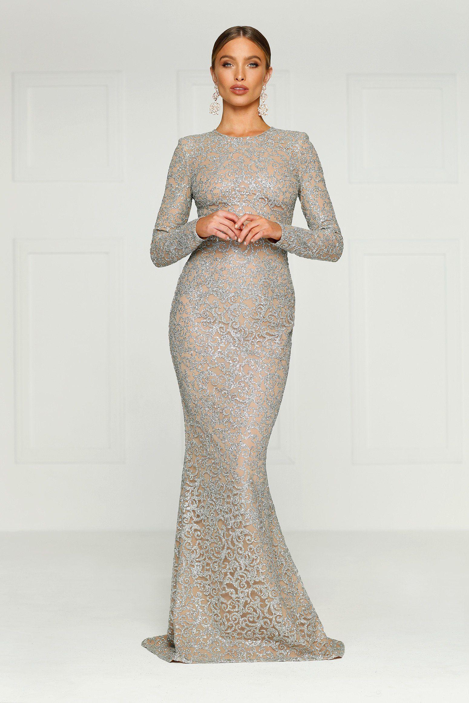 d021db9b Jolanda Glitter Gown - Silver in 2019 | Woman clothing | Long sequin ...