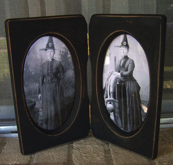 Vintage double wood frame with Halloween witch photos