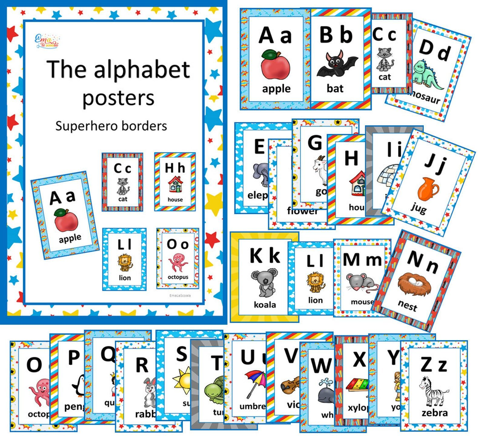 Supehero Alphabet Letters Printable Alphabet Posters