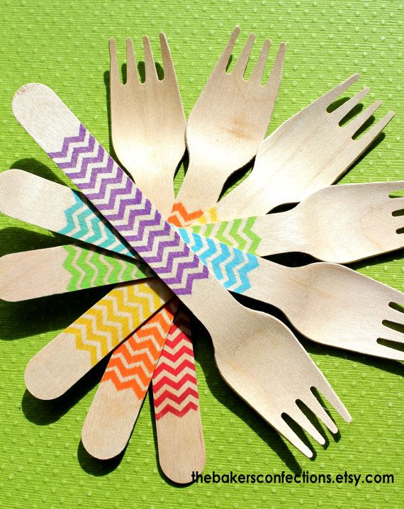 BOYS Rainbow Chevron Wooden Party Forks  by thebakersconfections, $17.99