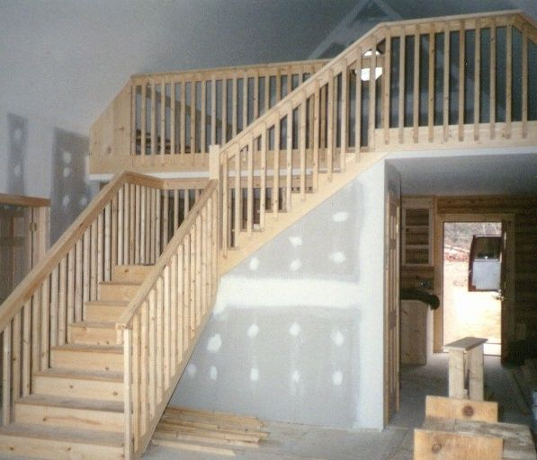 rustic style stairway with balusters and handrails out of. Black Bedroom Furniture Sets. Home Design Ideas
