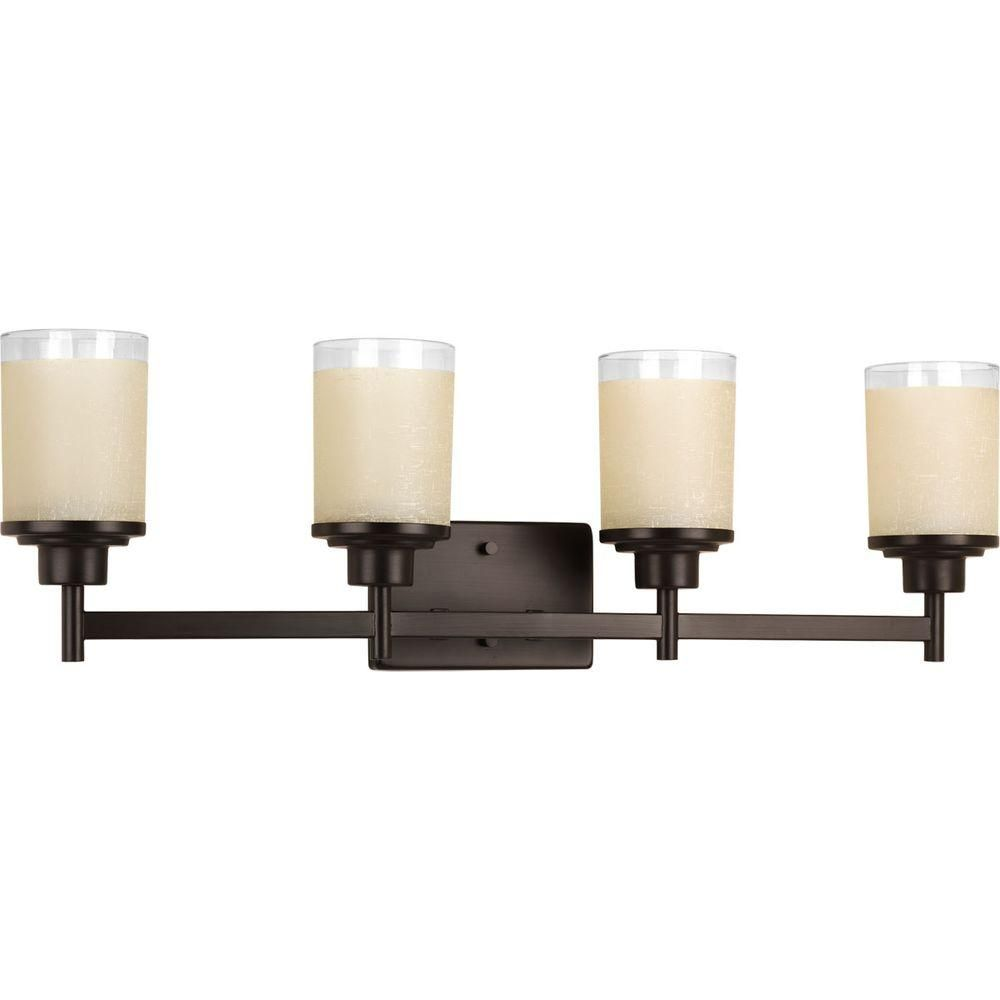 Progress Lighting Alexa Collection 4 Light Antique Bronze Bathroom Vanity Light With Glass Shades P2998 20 Progress Lighting Vanity Lighting Bathroom Vanity Lighting
