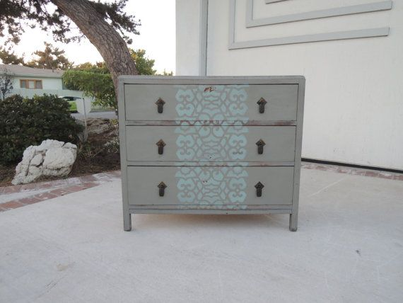 SHABBY CHIC 3 Drawer Gray Stenciled Dresser or by HouseCandyLA #LosAngeles #Venice #VeniceBeach #vintage #furniture #dresser