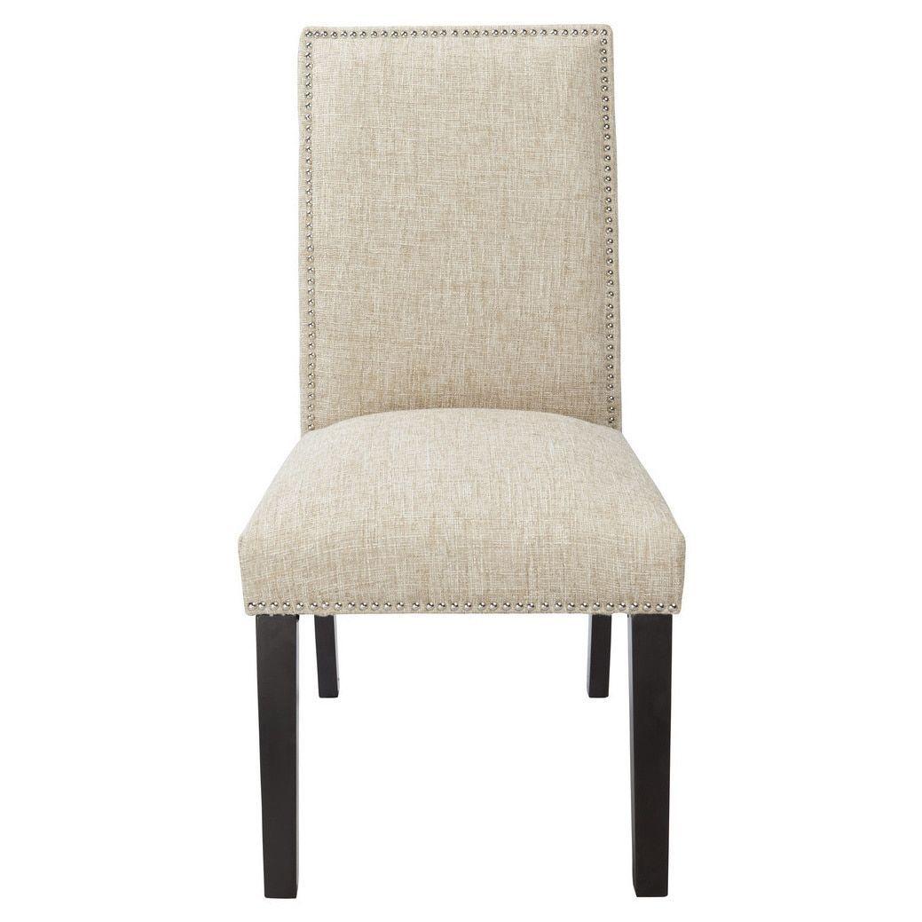 Burnett taupe parsons chair with silver nailheads burnett parsons