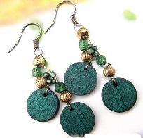 Green wood/metal beaded earrings free shipping