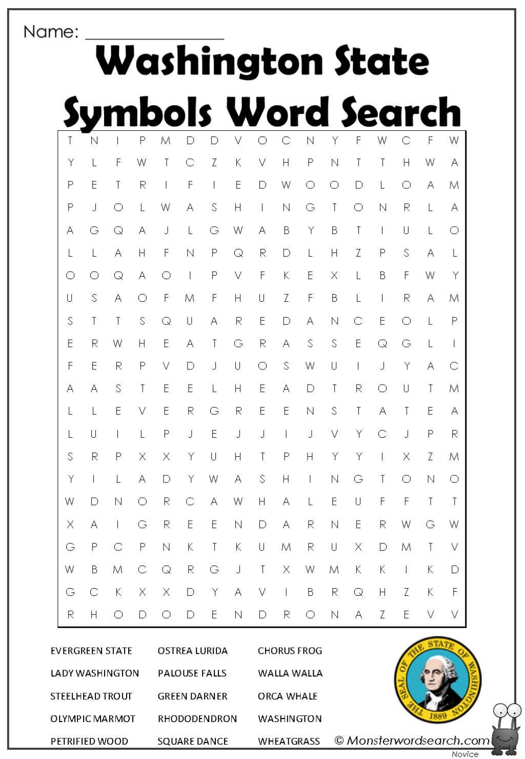 Washington State Symbols Word Search In