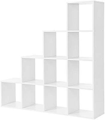 Vasagle Lbc10wtv1 129 5129 529 Cm Bookcase Stairs 10 Cube Compartments Wooden Display Shelf Free Standing Shelf Freistehende Regale Raumteiler Wurfelregal