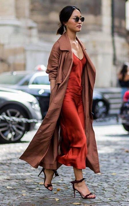 7fc224e7de795 Slip Dress Outfit, Slip Dresses, Silk Dress, Red Slip Dress, Dress Outfits