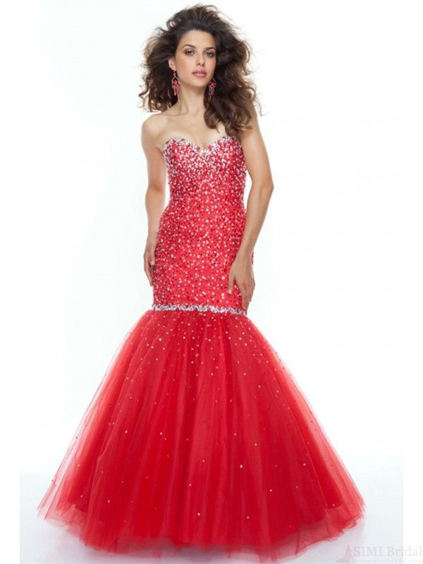 Absorbing Sweetheart Neck Sequins Tulle Chapel Train Lace Up Mermaid Sexy Prom Dress #promdresses #SIMIBridal