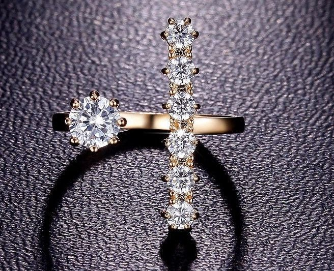 delicate Open-Front 18K Gold Plated Long Bar Ring
