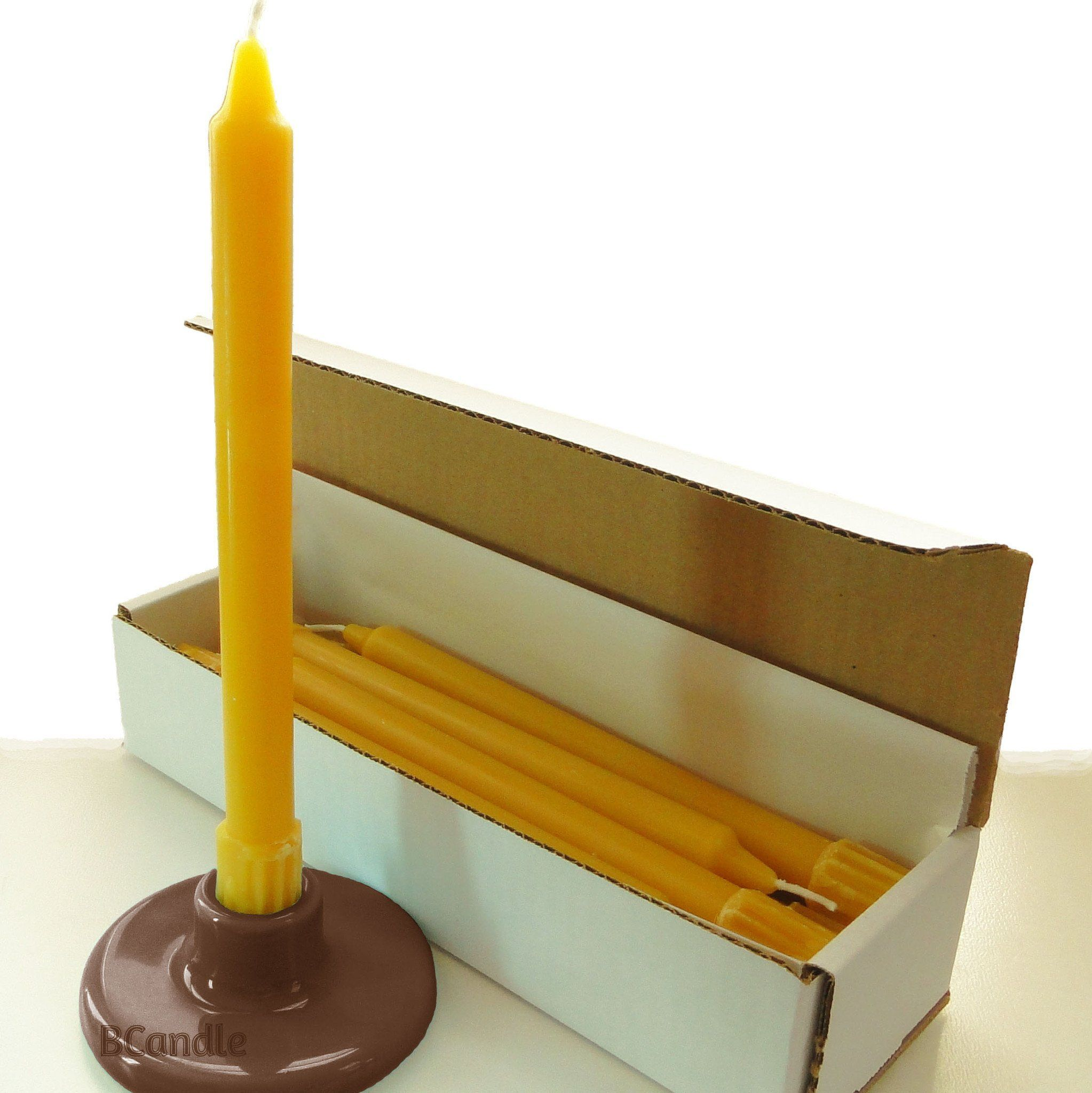 beeswax tapers candles set with candlestick holder