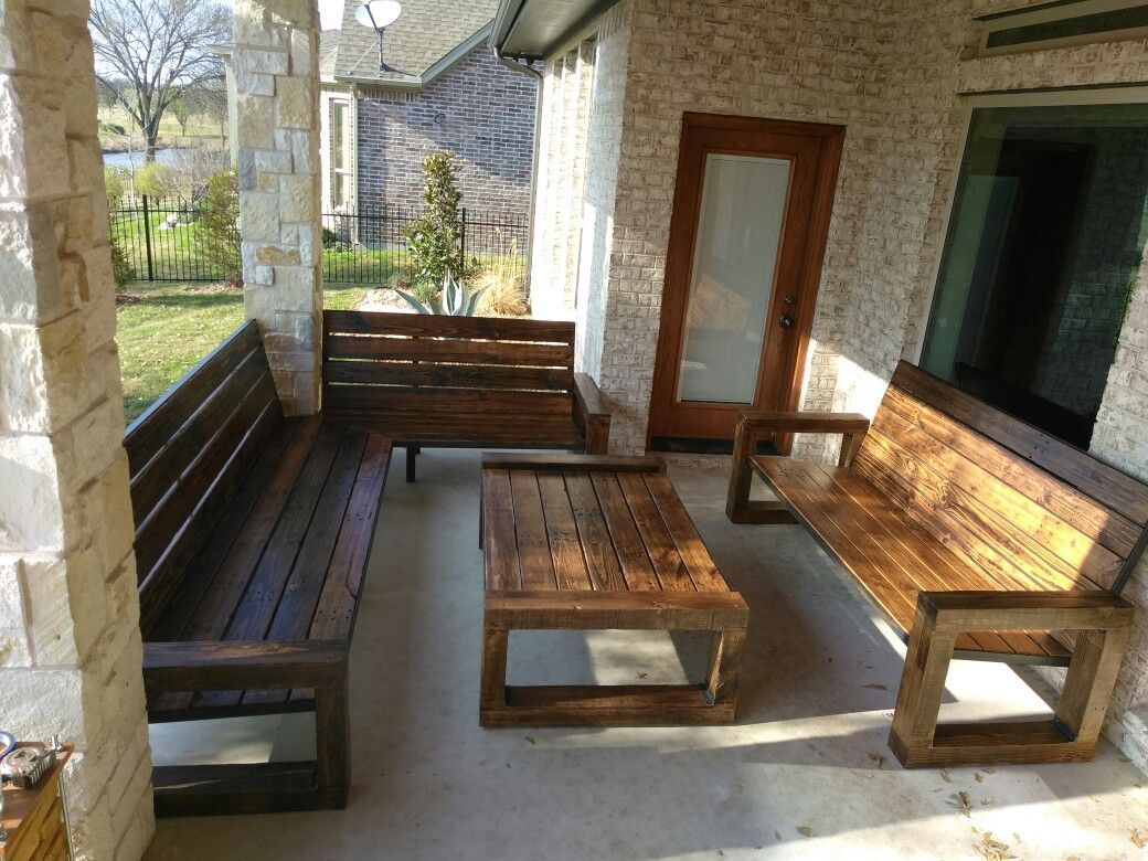 Custom Outdoor Patio Furniture Made From Repurposed Pine Wood By