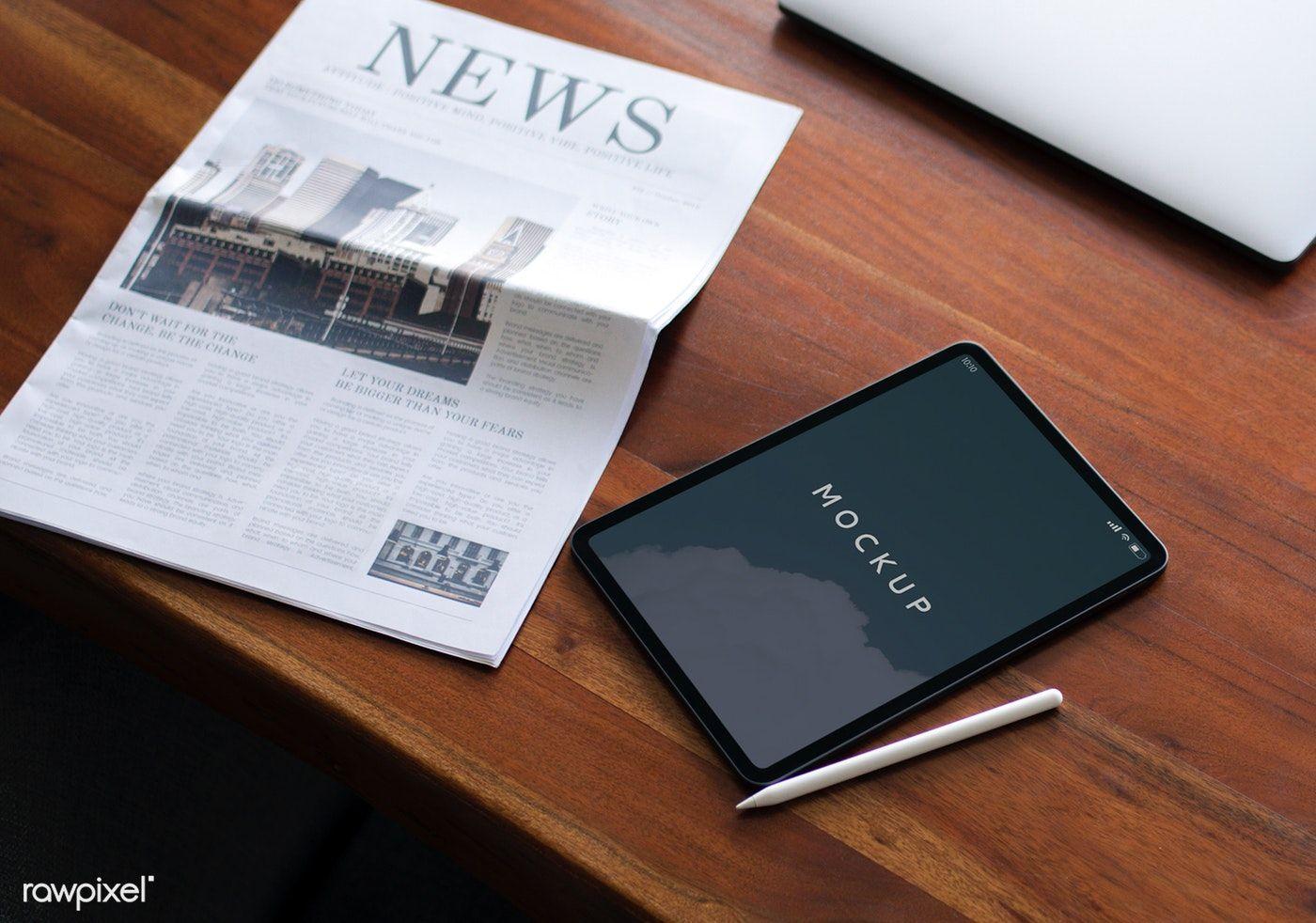 Newspaper On A Table With A Digital Tablet Mockup Premium Image By Rawpixel Com Felix Digital Tablet Design Mockup Free Tablet