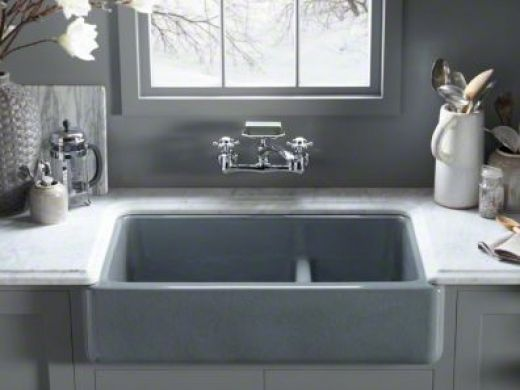Sinks And Faucets    Kohler Whitehaven Apron Front Sink With Divider