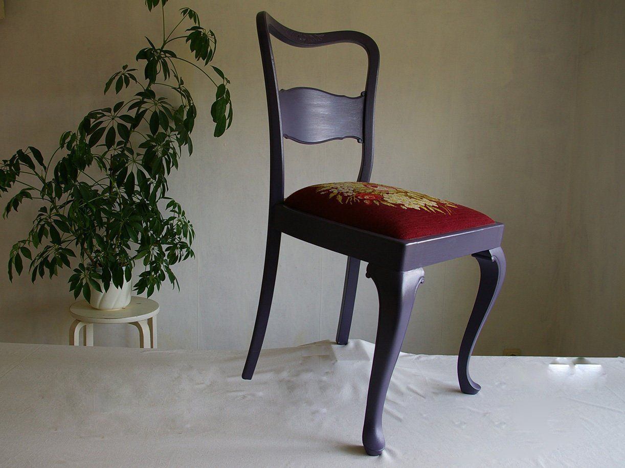 Stuhl Chippendale Look Alte Stuhle Mit Alter Stickerei Lila