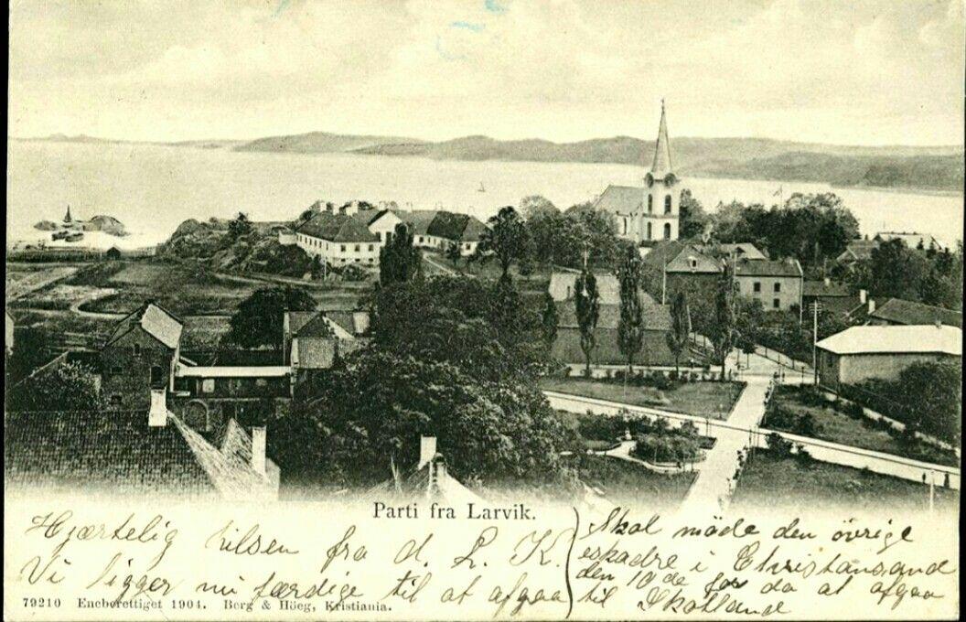 Vestfold fylke Larvik  oversikt stemplet 1904 Utg Berg og Høeg, Kristiania