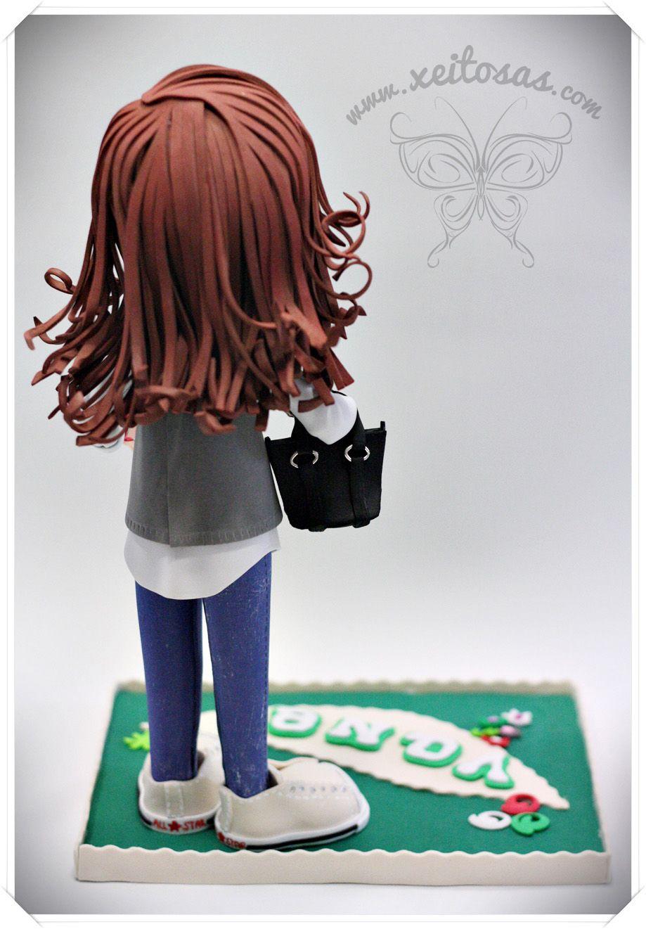 Fofucha personalizada para regalo de cumpleaños. Con nombre en la base y complementos