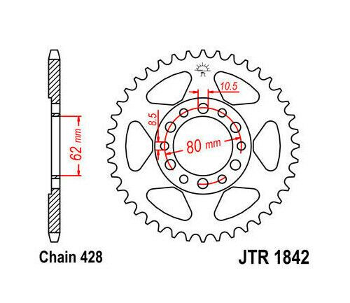 (Advertisement eBay) JT Steel Rear Sprocket 428 45T #