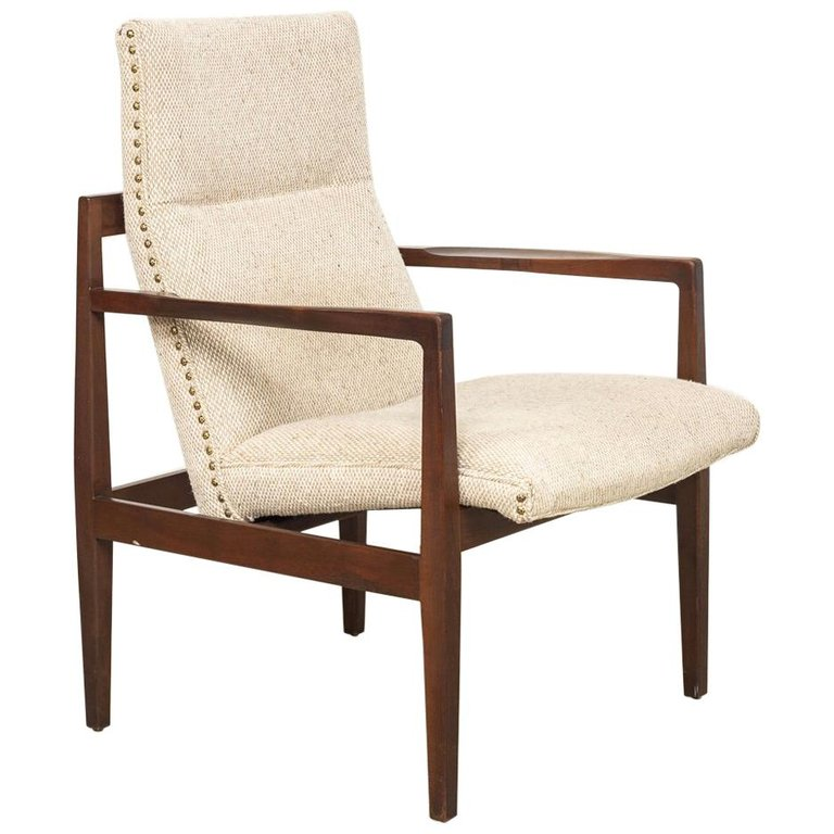 Magic Float Accent Chair: Midcentury Jens Risom Upholstered Floating Lounge Chair