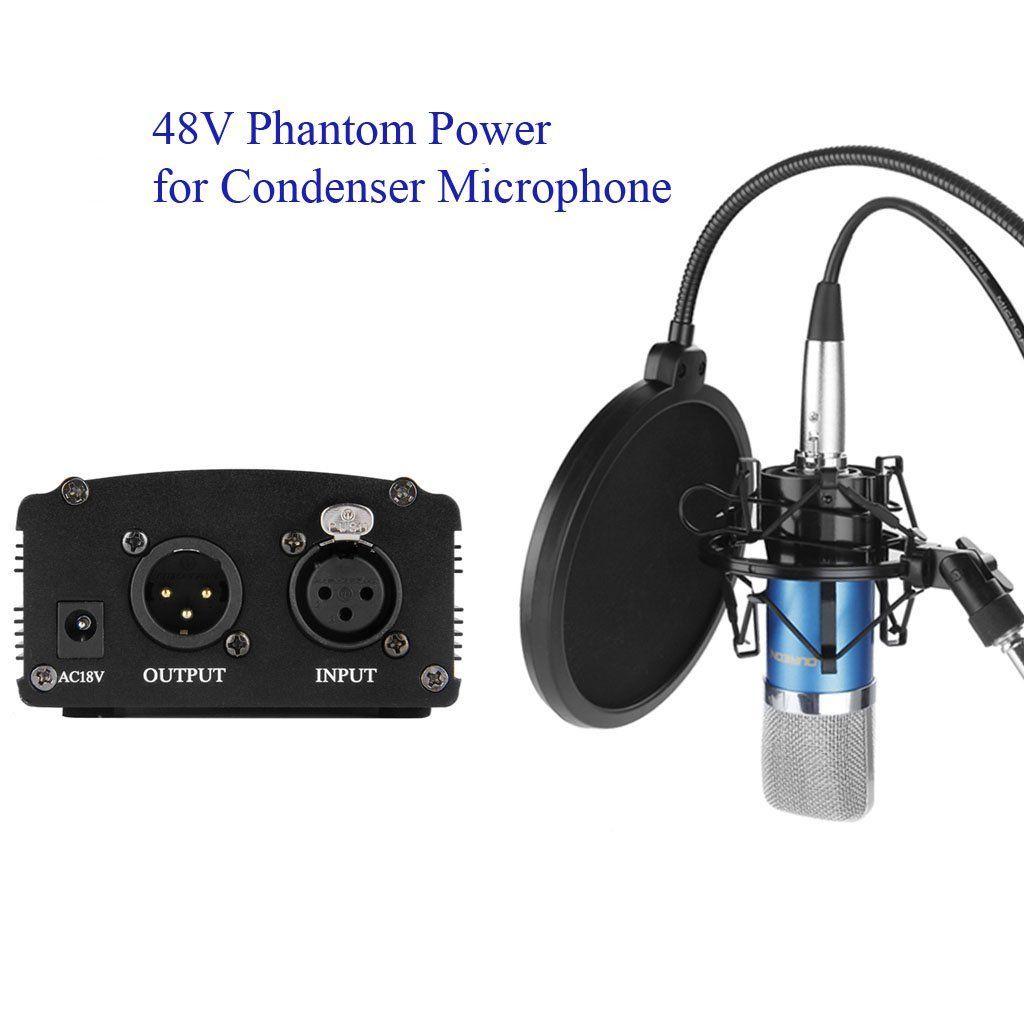 Floureon Inc 1 Channel 48v Phantom Power Supply Strengthen Sound Volume And Improve The Sound Music Recording Equipment Phantom Power Recording Equipment