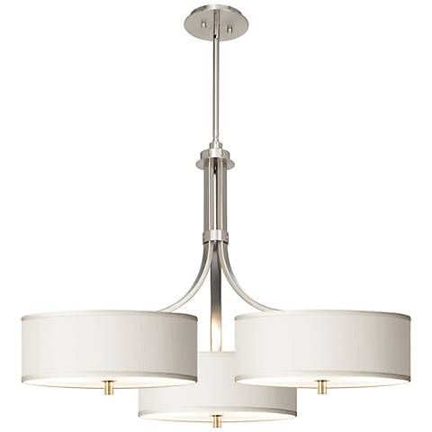 "Lamps Plus Pendant Lights Fascinating Cream Textured Silk 36"" Wide Triple Shade Pendant  Silk Pendants Review"